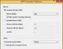 MP3 Encoder Options Window