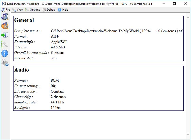 Checking Audio File Info