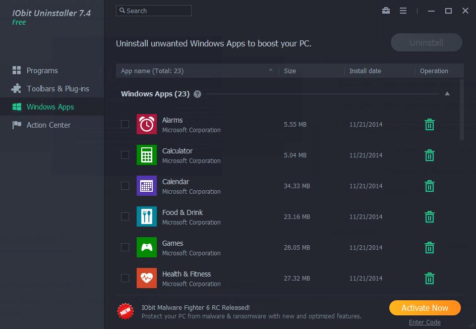 Windows Apps menu