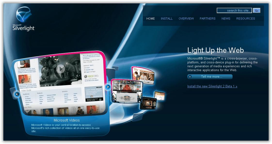 Microsoft Silverlight website