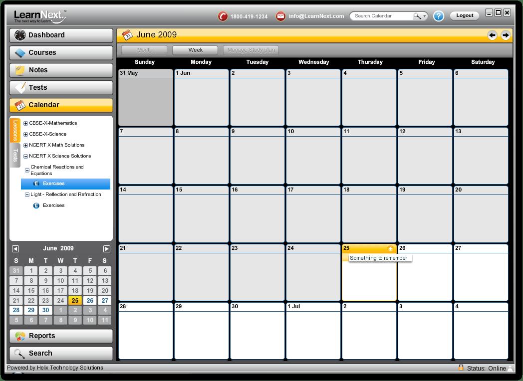 The calendar window