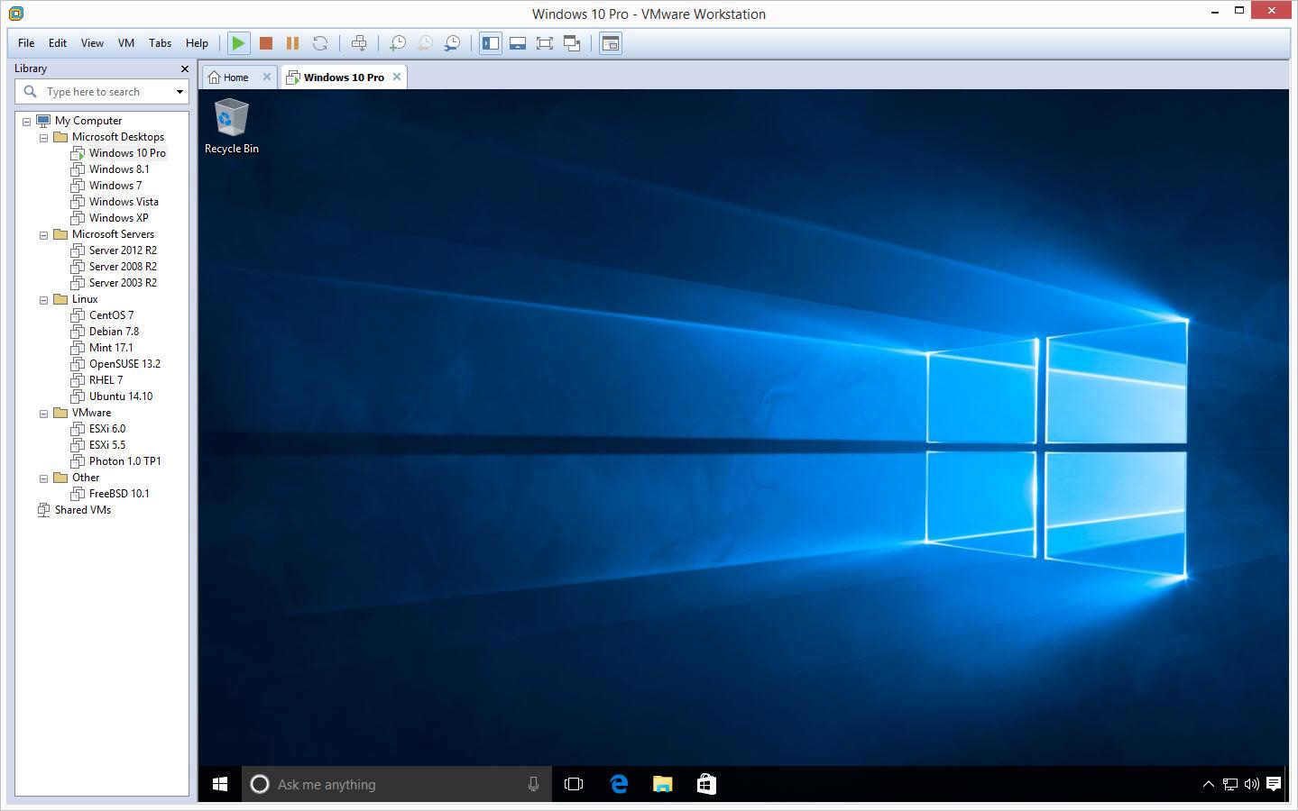 VMware Workstation Running Windows 10