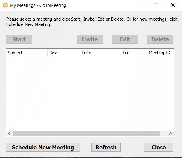 My Meetings screen