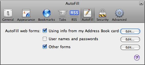 Autofill settings