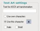 Text Art Settings