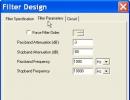 Filter design - parameters