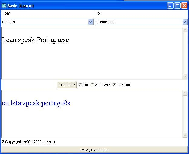 Translating from English to Portuguese ( Wrong)
