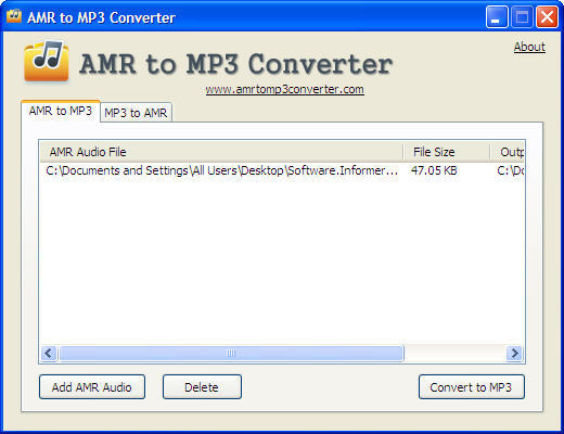 AMR to MP3 Conversion Window
