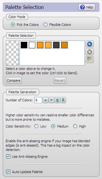 Palette selection