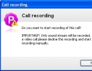 Call recording alert window